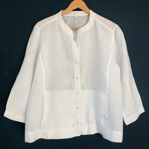 Eileen Fisher 100% Irish Linen Shirt w/Pockets, LG